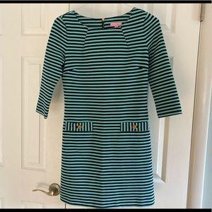 Lilly Pulizer Charlene Dress Striped Aqua & Navy